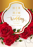 Wedding Invitation card templates with realistic of beautiful red rose and flower on background color.  - 206224056