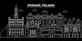 Poznan silhouette skyline. Poland - Poznan vector city, polish linear architecture, buildings. Poznan line travel illustration, landmarks. Poland flat icon, polish outline design banner