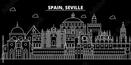 Seville silhouette skyline. Spain - Seville vector city, spanish linear architecture, buildings. Seville line travel illustration, landmarks. Spain flat icon, spanish outline design banner