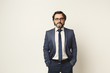 Handsome confident bearded businessman portrait