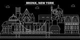 Bronx silhouette skyline. USA - Bronx vector city, american linear architecture, buildings. Bronx line travel illustration, landmarks. USA flat icons, american outline design banner - 206227444