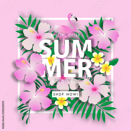 Summer sale background vector illustration sale off template - 206228434