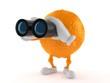 Orange character looking through binoculars