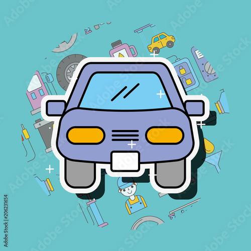 Aluminium Auto car sedan cartoon front view service repair vector illustration