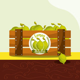 lemon fruit always fresh in wood basket vector illustration