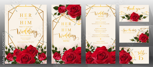 Fototapeta Wedding Invitation card templates with realistic of beautiful flower on background color.