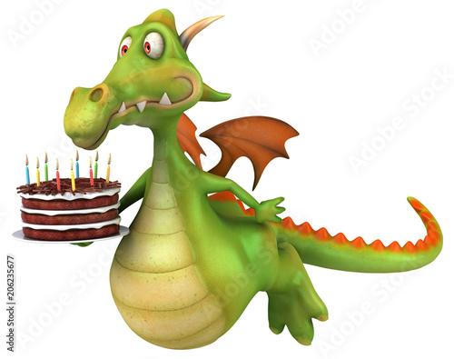 Naklejka Fun dragon - 3D illustration