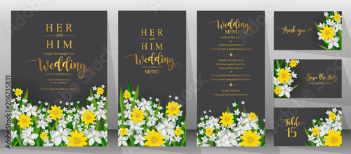 Wedding Invitation card templates with realistic of beautiful  flower on background color.  - 206235831