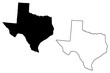 Texas map vector illustration, scribble sketch Texas map