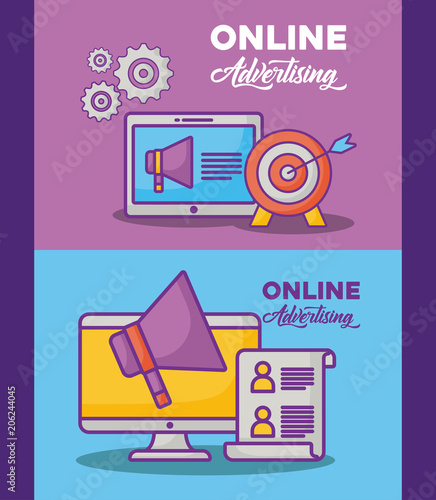 online advertising design with computer and related icons over colorful background,  vector illustration