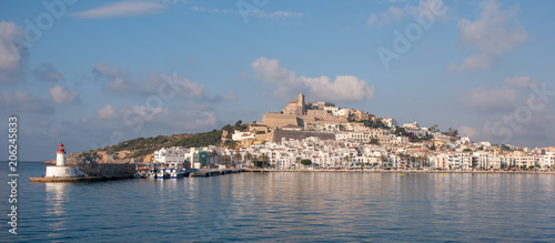 Ibiza Old Town and castle seen from across the harbor in May 2108.