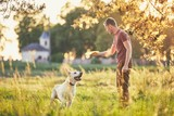 Man with his dog at sunset - 206246236