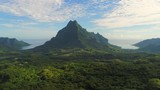Aerial view of Mount Rotui, lush green jungle, picturesque hills, mountains, valleys and bays - Moorea island, South Pacific Ocean, French Polynesia landscape from above, 4k - 206252667