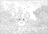 Funny crab among corals on a reef in a tropical sea, black and white vector illustration in a cartoon style for a coloring book