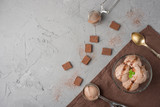 Flatlay with chocolate ice cream and mint and spoon for ice cream. In dark colors, with an empty space for the inscription - 206257895