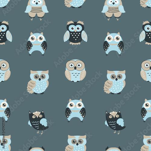 Aluminium Uilen cartoon Vector seamless pattern with cute owls.