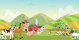 illustration of happy farm animal cartoon - 206260653
