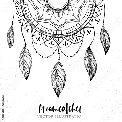 29b55174a Dreamcatcher with feathers and branches. Sweet dream. Native American Indian  talisman. Vector hand