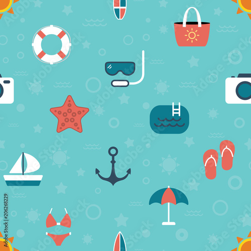 Cotton fabric Seamless summer beach color icons pattern on blue background
