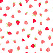 Seamless pattern with hand drawn strawberries. Vector illustration. - 206270405