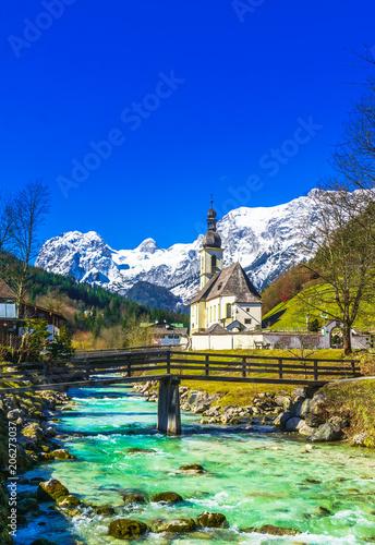 Leinwandbild Motiv Church St. Sebastian by village of Ramsau in the bavarian Alps