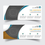 Horizontal Corporate Business Banner Vector Templates. clean simple modern creative abstract background layout for website cover header design - 206280898