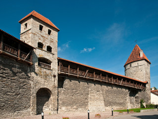 Ancient city walls and watchtowers in Tallinn, Estonia