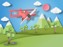 Red Airplane On Nature Landscape   Paper Art Style Sticker