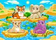 Baby cute Jungle animals in a natural landscape