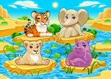 Fototapeta Child room - Baby cute Jungle animals in a natural landscape © ddraw