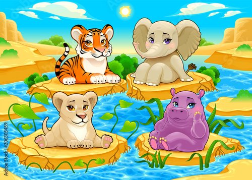 Fotobehang Kinderkamer Baby cute Jungle animals in a natural landscape