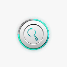 Search Magnifyier Web Button Magnify Icon Modern Magnifying Glass Sign Web Site Design Or Mobile App Sticker