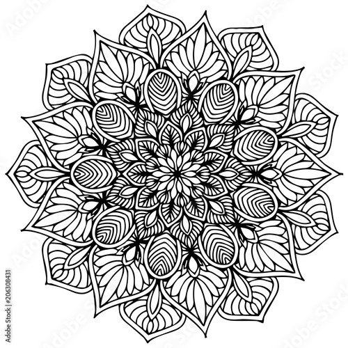 Mandalas for coloring  book. Decorative round ornaments. Unusual flower shape. Oriental vector, Anti-stress therapy patterns. Weave design elements. Yoga logos Vector. - 206308431