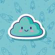 kawaii cloud over blue background, colorful design. vector illustration
