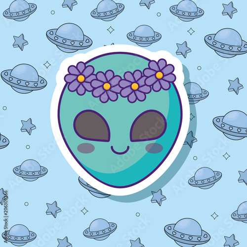 cute alien icon over blue background, colorful design. vector illustration