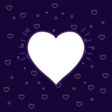 Heart Icon Over Purple  Colorful Line Design  Illustration Sticker