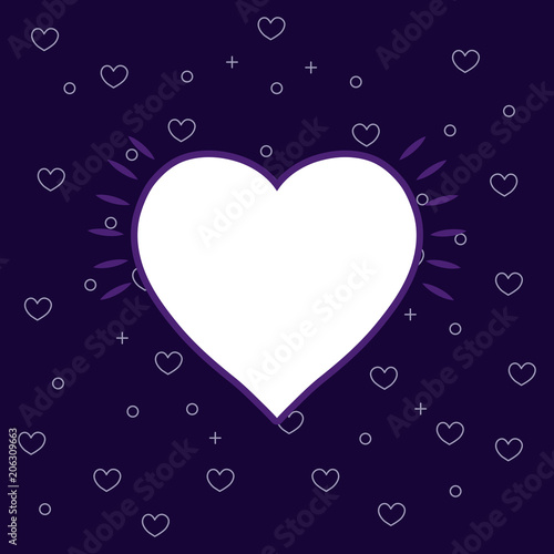 heart icon over purple background, colorful line design. vector illustration