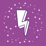 lightning icon over purple background, colorful design. vector illustration - 206309830