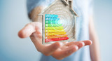Businessman using 3D rendering energy rating chart in a wooden house - 206310635