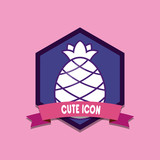 cute icons emblem with decorative ribbon and pineapple icon over pink background, colorful design. vector illustration