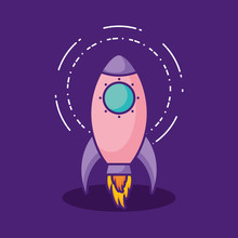 Space Rocket Icon Over Purple  Colorful Design  Illustration Sticker