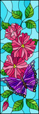 Illustration in stained glass style with bright butterfly against the sky, foliage and pink flowers,on blue background, vertical orientation