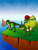 Baryonyx and dilophosaurus on the background of the sea. Vector illustration.