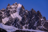 The Chamonix Needles (Aiguille du Plan and Dent du Crocodile) at twilight. Mont Blanc mountain range, Chamonix, Haute-Savoie, Alps, France - 206317676