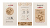 3 banners for coffee trademak in vintage style with hand drawn coffee plant - 206321634