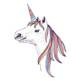 Hand drawn head of unicorn - 206321809
