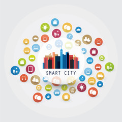 Colorful Smart City, Cloud Computing Design Concept with Icons - Digital Network Connections, Technology Background