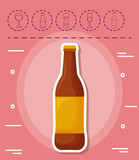 beer bottle and picnic related icons over pink background, colorful design. vector illustration - 206322883