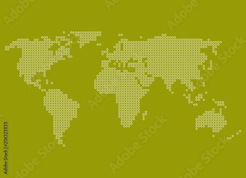 Fotobehang Wereldkaarten Gelb grüne Weltkarte mit weißen Punkten