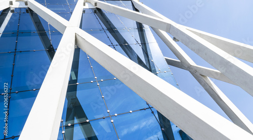 high tech modern architecture buildings. Details Of Office Building Exterior. Business Buildings Skyline Looking Up  With Blue Sky. Modern High Tech Modern Architecture /